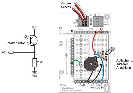 Fototransistor - Lichtsteuerung - Navigation - Roboter - Arduino ...