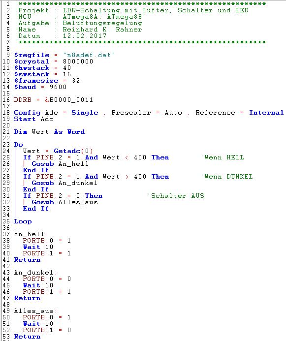 Lichtmessung - LDR - Fototransistor - BASCOM - ATmega8 - Unterricht ...