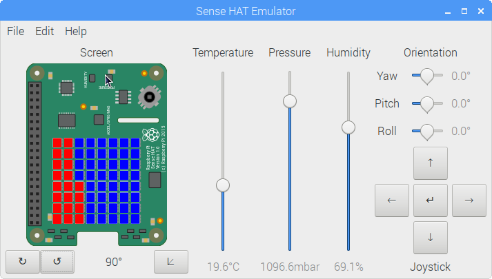 Sense HAT - Temperatur - 8x8 LED Matrix - Raspberry Pi