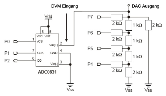 D A Wandler Dac Dau Spannungsfolger Nibble Widerstandsleiter Unterricht Lernmaterial Mikrocontroller Physik Mint